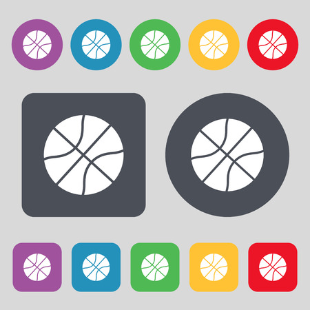 Basketball icon sign. A set of 12 colored buttons. Flat design. Vector illustration