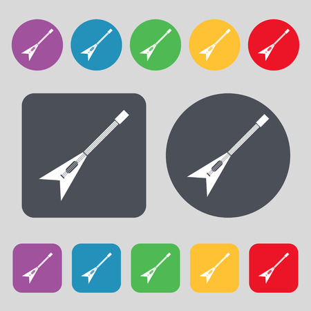 strumming: guitar icon sign. A set of 12 colored buttons. Flat design. Vector illustration