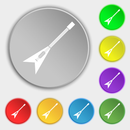 strumming: guitar icon sign. Symbol on eight flat buttons. Vector illustration