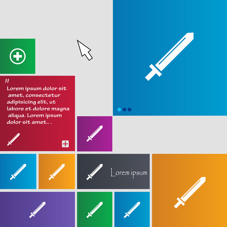 iron defense: Sword icon sign. buttons. Modern interface website buttons with cursor pointer. Vector illustration