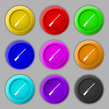 black powder pistol: Shotgun icon sign. symbol on nine round colourful buttons. Vector illustration