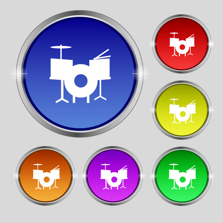 drumset: Drum Icon sign. Round symbol on bright colourful buttons. Vector illustration