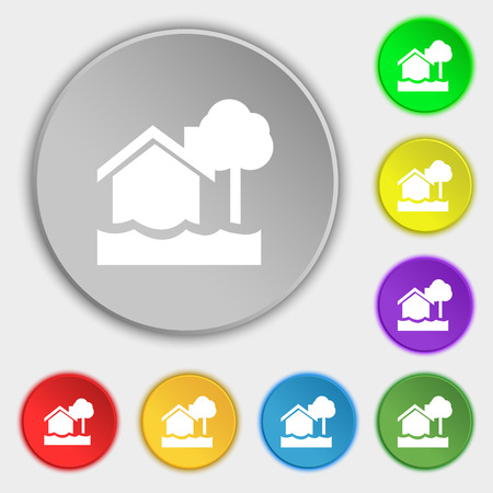 flooding: flooding home icon sign. Symbol on eight flat buttons. Vector illustration Illustration