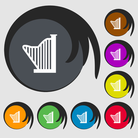 lyra: Harp icon sign. Symbols on eight colored buttons. Vector illustration