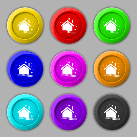 Winter house icon sign. symbol on nine round colourful buttons. Vector illustration