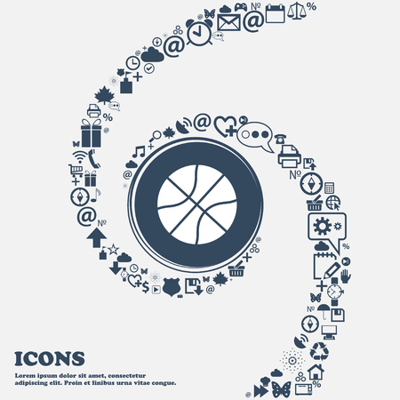 Basketball icon in the center. Around the many beautiful symbols twisted in a spiral. You can use each separately for your design. Vector illustration