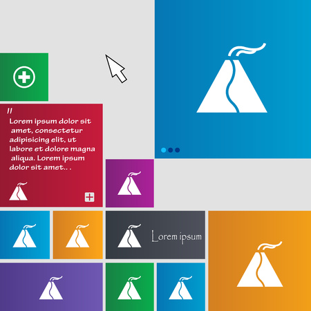 smoky mountains: active erupting volcano icon sign. buttons. Modern interface website buttons with cursor pointer. Vector illustration