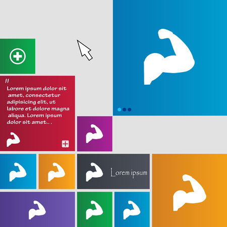 muscular control: Biceps strong arm. Muscle icon sign. buttons. Modern interface website buttons with cursor pointer. Vector illustration