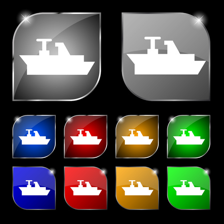 brigantine: Ships, boats, cargo icon sign. Set of ten colorful buttons with glare. Vector illustration sign. Set of ten colorful buttons with glare. Vector illustration