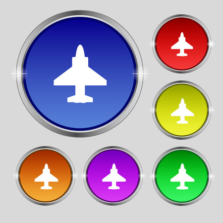 Aircraft or Airplane Icon sign. Round symbol on bright colourful buttons. Vector illustration Illustration