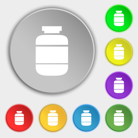 a substance vial: medication icon sign. Symbol on eight flat buttons. Vector illustration