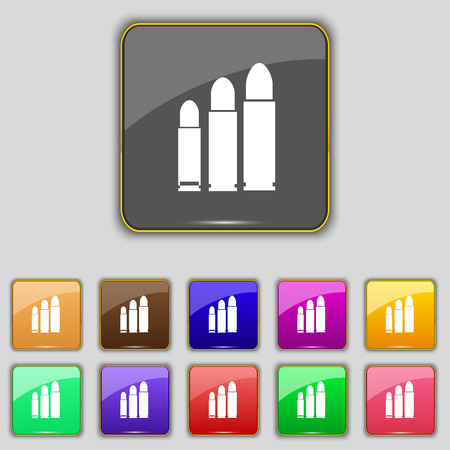 bullet icon: bullet Icon sign. Set with eleven colored buttons for your site. Vector illustration