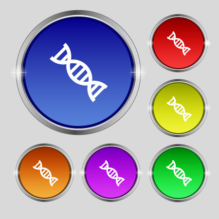 DNA icon sign. Round symbol on bright colourful buttons. Vector illustration