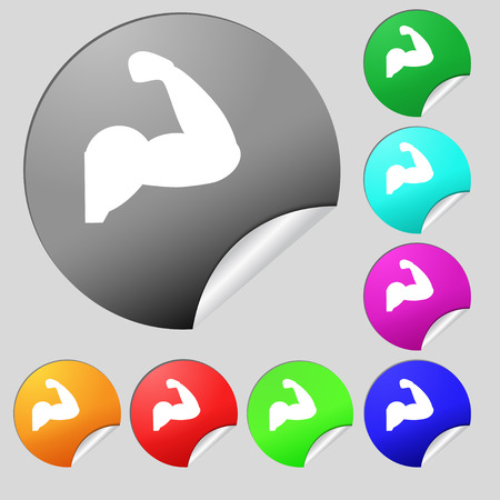 strong arm: Biceps strong arm. Muscle icon sign. Set of eight multi colored round buttons, stickers. Vector illustration Illustration