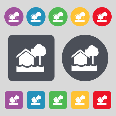 flooding: flooding home icon sign. A set of 12 colored buttons. Flat design. Vector illustration