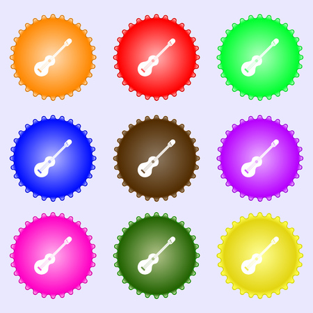strumming: acoustic guitar icon sign. Big set of colorful, diverse, high-quality buttons. Vector illustration
