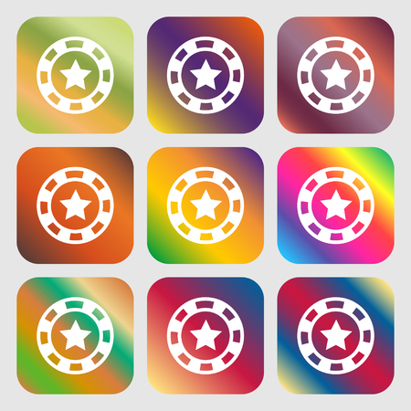 las vegas metropolitan area: Gambling chips icon . Nine buttons with bright gradients for beautiful design. Vector illustration Illustration