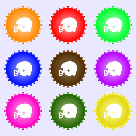 american football helmet icon sign. Big set of colorful, diverse, high-quality buttons. Vector illustration