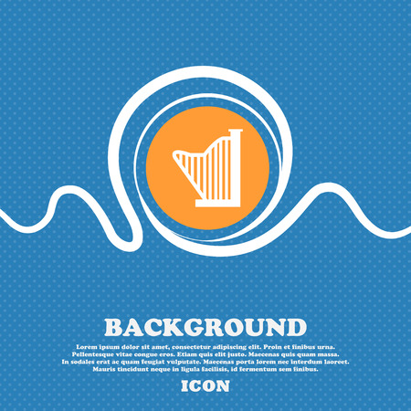 Harp icon sign. Blue and white abstract background flecked with space for text and your design. Vector illustration