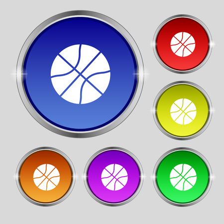 Basketball icon sign. Round symbol on bright colourful buttons. Vector illustration