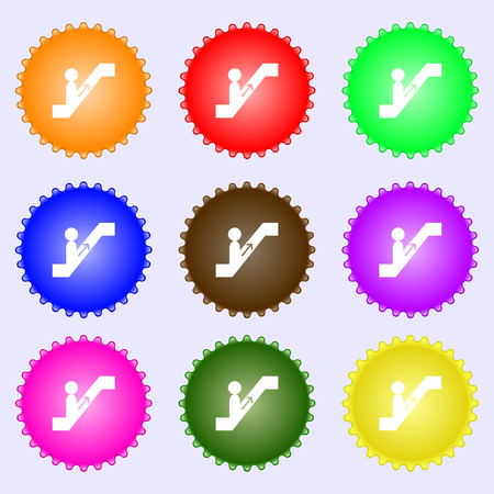 escalator icon sign. Big set of colorful, diverse, high-quality buttons. Vector illustration