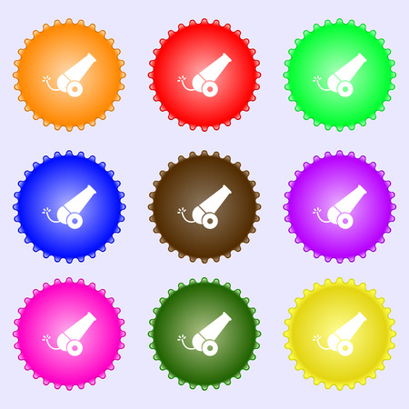 Cannon icon sign. Big set of colorful, diverse, high-quality buttons. Vector illustration Illustration