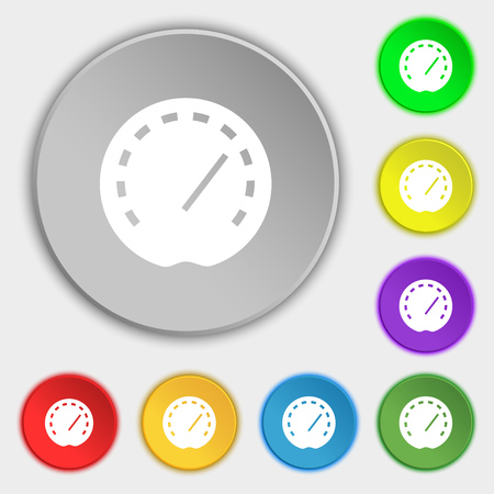 fuel provider: speedometer Icon sign. Symbol on eight flat buttons. Vector illustration