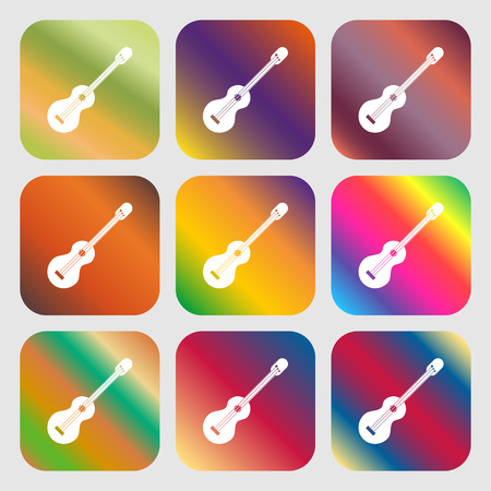acoustic guitar icon . Nine buttons with bright gradients for beautiful design. Vector illustration