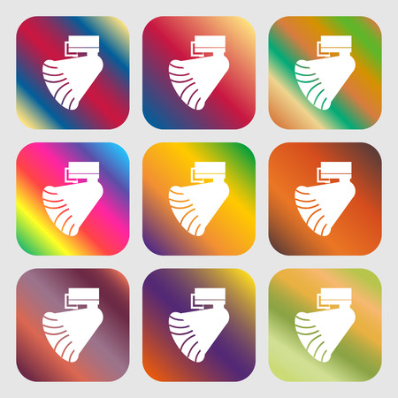 restored: Gramophone icon. . Nine buttons with bright gradients for beautiful design. Vector illustration