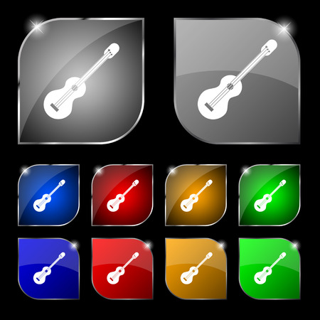 strumming: acoustic guitar icon sign. Set of ten colorful buttons with glare. Vector illustration sign. Set of ten colorful buttons with glare. Vector illustration