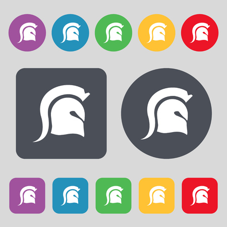 norseman: Spartan Helmet icon sign. A set of 12 colored buttons. Flat design. Vector illustration Illustration