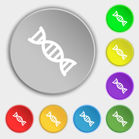 dna icon: DNA icon sign. Symbol on eight flat buttons. Vector illustration