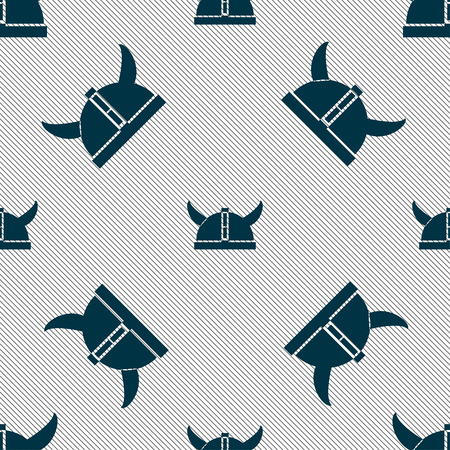viking helmet icon sign. Seamless pattern with geometric texture. Vector illustration
