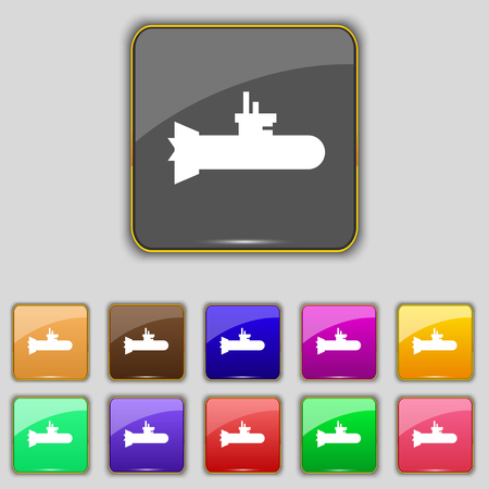 periscope: submarine icon sign. Set with eleven colored buttons for your site. Vector illustration