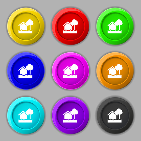 flooding home icon sign. symbol on nine round colourful buttons. Vector illustration