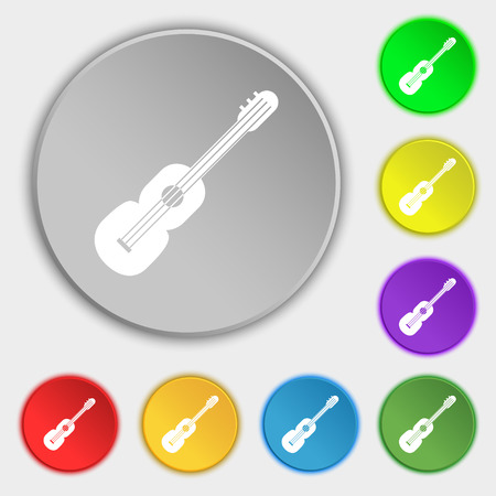 strumming: acoustic guitar icon sign. Symbol on eight flat buttons. Vector illustration