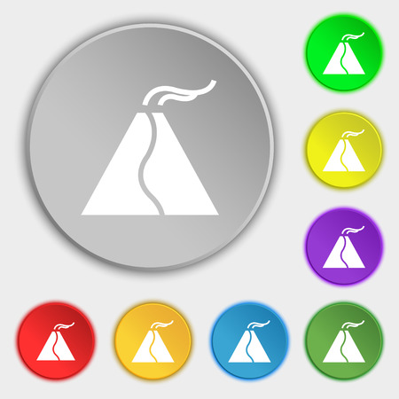erupting: active erupting volcano icon sign. Symbol on eight flat buttons. Vector illustration