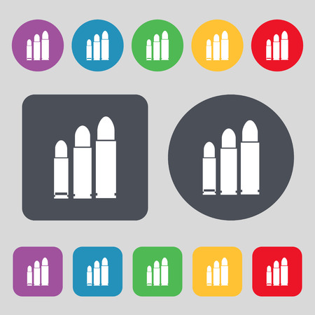 m16 ammo: bullet Icon sign. A set of 12 colored buttons. Flat design. Vector illustration