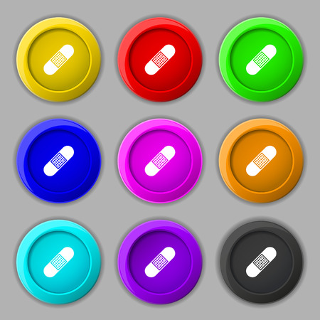 band aid: Band Aid Icon sign. symbol on nine round colourful buttons. Vector illustration