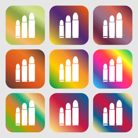 bullet icon: bullet Icon . Nine buttons with bright gradients for beautiful design. Vector illustration