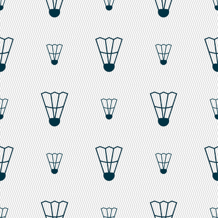 battledore: Shuttlecock icon sign. Seamless pattern with geometric texture. Vector illustration