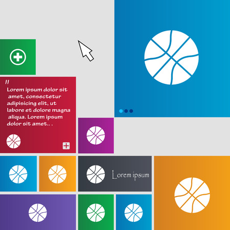 Basketball icon sign. buttons. Modern interface website buttons with cursor pointer. Vector illustration