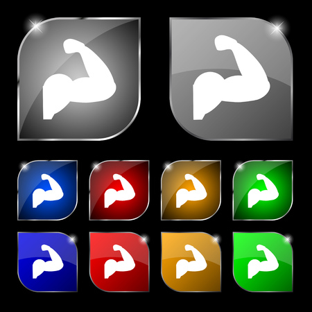 in flexed: Biceps strong arm. Muscle icon sign. Set of ten colorful buttons with glare. Vector illustration sign. Set of ten colorful buttons with glare. Vector illustration