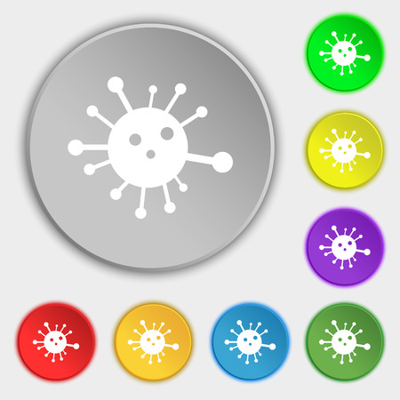 quarantine: Bacteria icon sign. Symbol on eight flat buttons. Vector illustration Illustration