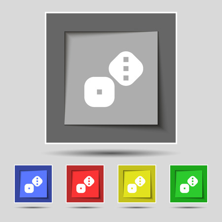 backgammon: Dice Cubes icon sign on original five colored buttons. Vector illustration