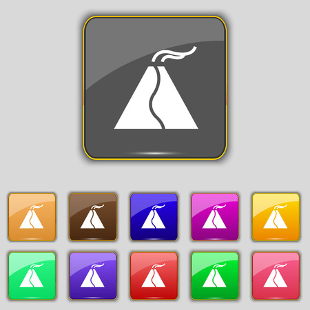 volcano mountain top exploding: active erupting volcano icon sign. Set with eleven colored buttons for your site. Vector illustration