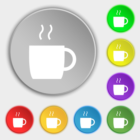 contemporary taste: coffee icon sign. Symbol on eight flat buttons. Vector illustration