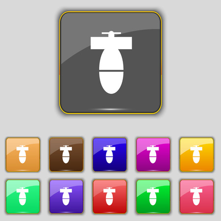mine site: mortar mine icon sign. Set with eleven colored buttons for your site. Vector illustration