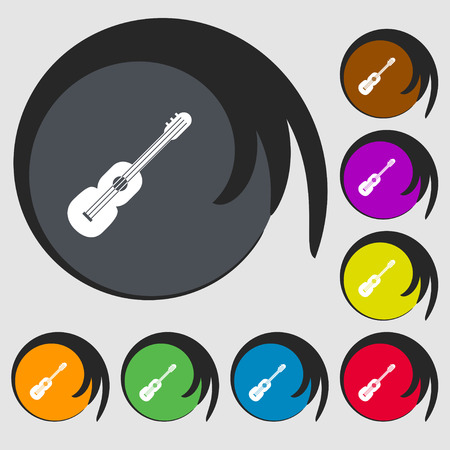 strumming: acoustic guitar icon sign. Symbols on eight colored buttons. Vector illustration Illustration