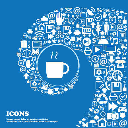 contemporary taste: coffee icon . Nice set of beautiful icons twisted spiral into the center of one large icon. Vector illustration